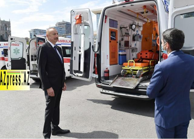 Ilham Aliyev viewed new ambulances delivered to Azerbaijan - PHOTO=22