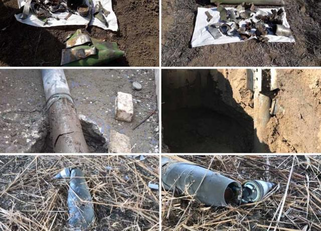 1 piece of 152 mm artillery shell detonatorirs and 16 pieces of exploded shell remnants were found as a result of the mission. - POTO
