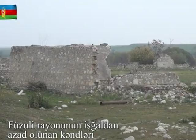 Video footage of liberated from the occupation villages of Fuzuli region